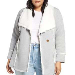 NWT CASLON Faux Shearling Lined Knit Jacket PLUS